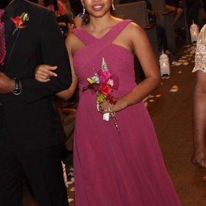 Purplish Pink Long Halter Bridesmaid dress